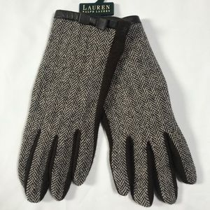 Ralph Lauren Tweed Gloves with Herringbone Print.